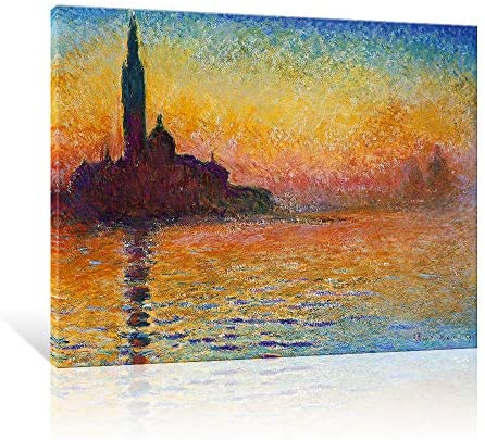 JAPO ART Abstract Giclee Wall Art Canvas Prints by Vincent Van Gogh (Dusk in Venice, 16×12)