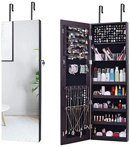 AOOU Jewelry Organizer Jewelry Cabinet,Full Screen Display View Larger Mirror, Full Length Mirror,Large Capacity Dressing Mirror Makeup Jewelry Armoire,Brown