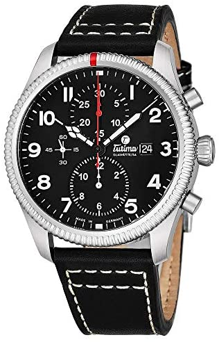 Tutima Grand Flieger Airport Chronograph Mens Automatic Watch – 43mm Black Face with Luminous Hands, Date and Sapphire Crystal – Stainless Steel Black Leather Band Watch Made in Germany 6402-01