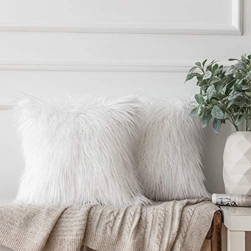 Ashler Pack of 2 Decorative Luxury Style White Faux Fur Throw Pillow Case Cushion Cover 20 x 20 Inches 50 x 50 cm