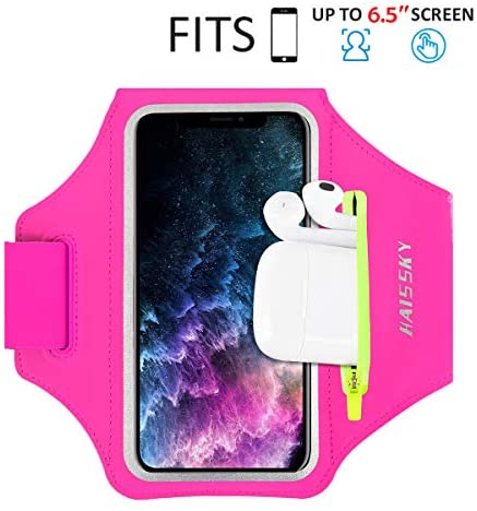 Running Armband with Airpods Bag Cell Phone Armband for iPhone 11/11 Pro/XR/XS/8/7, Water Resistant Sports Phone Holder Case with Touchscreen & Zipper Slot Car Key Holder for 6.5 inches Phone (Rose)