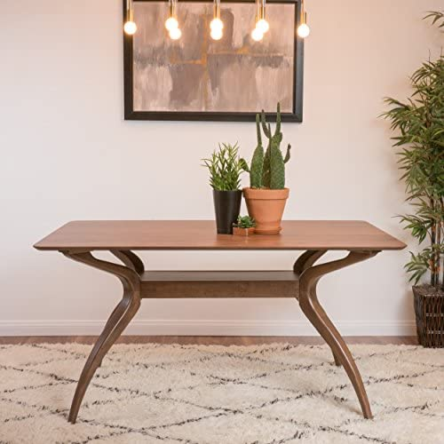 Mabel Natural Walnut Finish Wood Mid Century Modern Dining Table