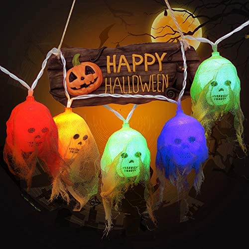 Halloween Decorations, 10 LEDs Battery Operated Skull Halloween String Lights with 2 Lighting Modes (Steady-on/Flash) for Festival, Party, Indoor Outdoor Halloween Decor (Multi-Color)