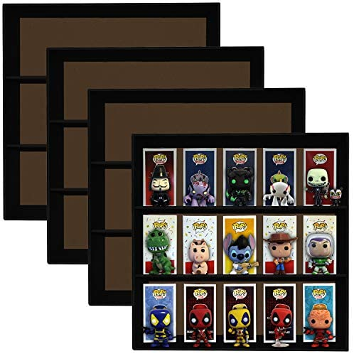 Display Geek 4 Pack, Stackable Toy Shelves for 4 in. Vinyl Collectible Figures, Black Corrugated Cardboard