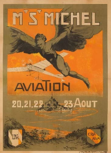 Mt St Michel – Aviation Vintage Poster (artist: Jacquier) France c. 1911 (24×36 Fine Art Giclee Gallery Print, Home Wall Decor Artwork Poster)