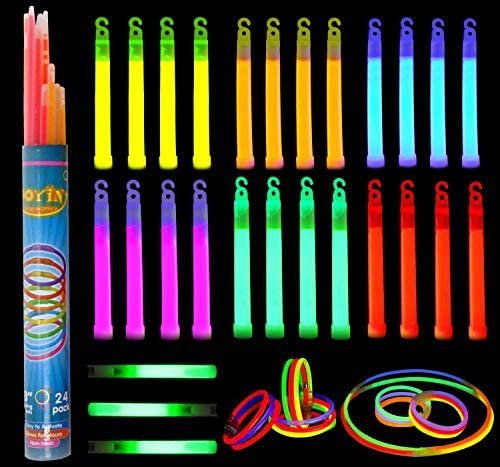 Glow Sticks Bulk 52 Pieces Including 28 6″ Long 0.6″ Extra Thick Industrial Grade Glowsticks Emergency (3 in Whistle Shape) and 24 8″ Long Glow Stick Bracelets for July 4th Party Halloween Party