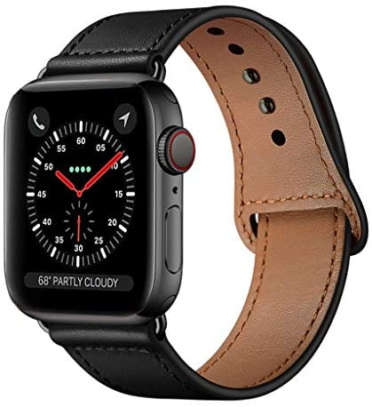 KYISGOS Compatible with iWatch Band 44mm 42mm, Genuine Leather Replacement Band Strap Compatible with Apple Watch Series 5 4 3 2 1 42mm 44mm, Black Band with Black Adapter