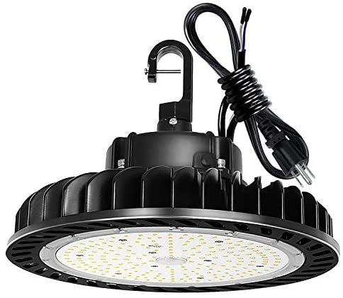 250W UFO LED High Bay Light Fixture, 35000lm 1-10V Dimmable 5000K 5′ Cable with US Plug [750W/1000W MH/HPS Equiv.] Commercial Warehouse/Workshop/Wet Location Area Light