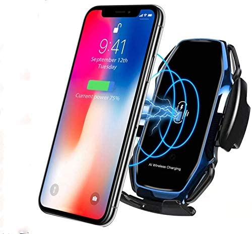 Wireless Fast Car Charger10W for Android iOS Smartphone Mobile Phone Fast Charging with Smart Sensor Car Mount Fast Charger for iPhone Xs Max/XR/X/8/8Plus Samsung S10/S9/S8-Blue