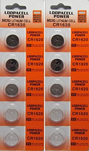 Loopacell CR1620 3 Volt Lithium Batteries (10 Pack)
