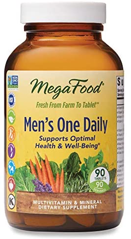 MegaFood, Men's One Daily, Daily Multivitamin and Mineral Dietary Supplement with Vitamins B, D and Zinc, Non-GMO, Vegetarian, 90 Count Tablets (90 Servings)