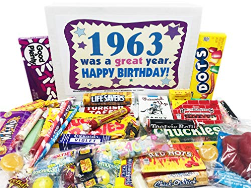 Woodstock Candy ~ 1963 57th Birthday Gift Box Nostalgic Retro Candy Assortment from Childhood for 57 Year Old Man or Woman Born 1963 Jr