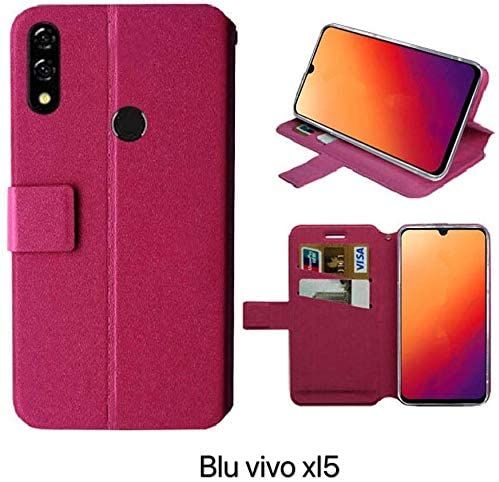 Golden Sheeps Flip Case Compatible for BLU Vivo XL5-6.3″ HD Display Smartphone Magnetic Leather Wallet Pouch Cover Case Card Holder with a Viewing Stand (Pink)