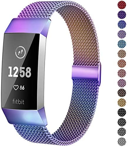 Suplink Metal Bands Compatible with Fitbit Charge 3 / Charge 4 Bands for Women Men, Breathable Stainless Steel Replacement Wristband Accessories for Charge 3 SE Fitness Activity Tracker, Colorful