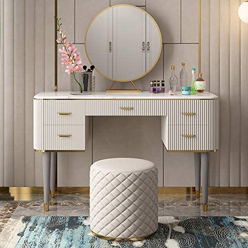 QXX Dressers Dressing Table Modern Luxury Classic American Marble, Bedroom Furniture 100 cm (Marble Countertop) + Stool + Mirror