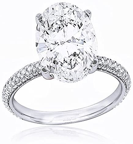 KING OF JEWELRY Natural, Not Enhanced, Oval Cut 3-Row Micro Pave Diamond Engagement Ring, G-Color, VS2 Clarity – GIA Certified