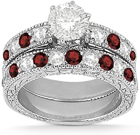 Antique Heirloom Diamond and Garnet Engagement Ring and Band Bridal Set Platinum (1.80ct) GH/VS