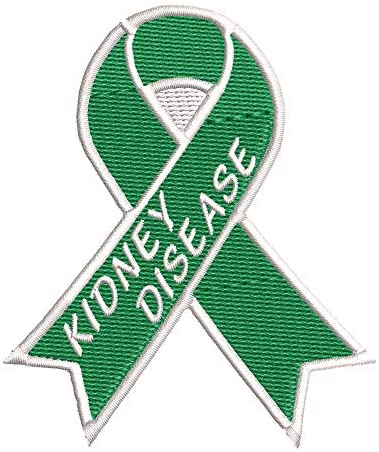 Kidney Disease Green Awareness Ribbon Series 3.5″ Embroidered DIY Iron on or Sew-on Decorative Patch Badge Emblem Appliques