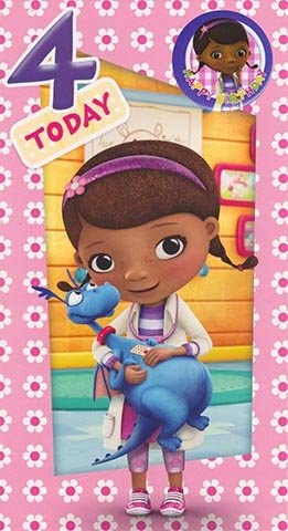 Doc McStuffins – Age 4 Birthday Card & Badge