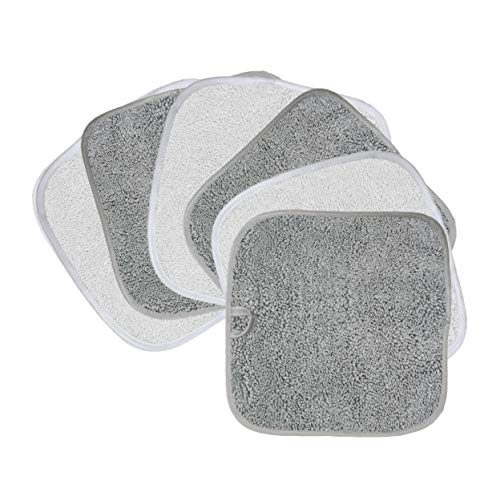 Polyte Premium Hypoallergenic Chemical Free Microfiber Makeup Remover and Facial Cleansing Cloth, 6 Pack (8×8 in, Gray,White)
