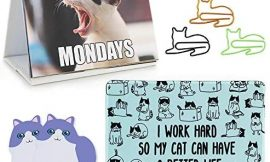 Office Gift for Cat Lovers | Cute Cat Office Supplies – Funny Cat Memes Desktop Flipbook, Cat Mouse Pad, Cat Shaped Bookmark Paper Clips, Cat Sticky Notes, Accessories for Home School Work Office