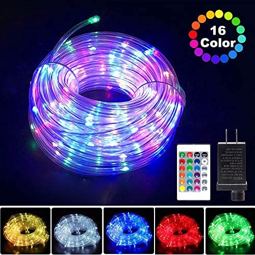 ANJAYLIA 66ft 200 LED Rope Lights Outdoor, Waterproof 16 Colors Changing String Lights Plug in with Remote Control Twinkle Fairy Lights for Bedroom Garden Party Christmas Decoration