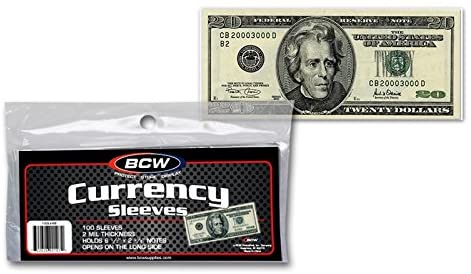 BCW Currency Sleeves – Regular Bill, 100 pack by BCW