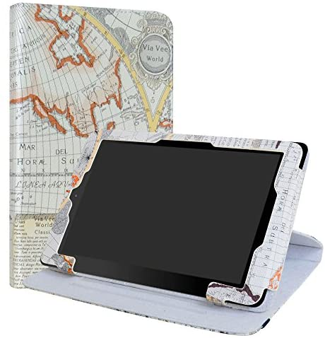 RCA 10 Viking/II Pro/Cambio W101 V2 Case,LiuShan 360 Degree Rotation Stand PU Leather with Cute Pattern Cover for 10.1″ RCA 10 Viking Pro/Viking II Pro/Cambio W101 V2 Tablet,Map White