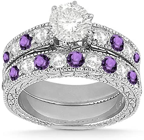 Antique Heirloom Diamond and Amethyst Engagement Ring and Band Bridal Set Platinum (1.80ct) GH/VS