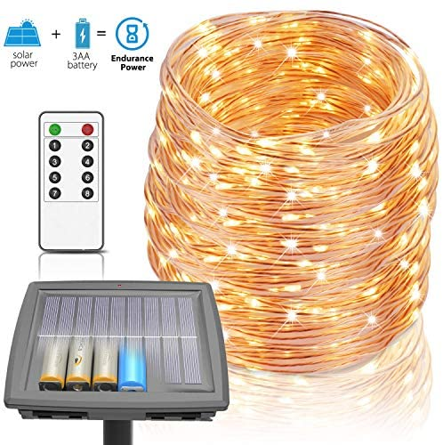 Solar Lights Outdoor, 100 ft String Lights Powered by Solar and Batteries, 8 Modes 300 LEDs IP67 Waterproof Rope Lights Fairy Lights with RF Remote for Patio Garden Party Home Decor (Warm White)
