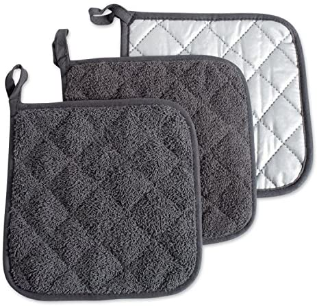 DII 100% Cotton, Quilted Terry Oven Set Machine Washable, Heat Resistant with Hanging Loop, Potholder, Mineral Gray 3 Count