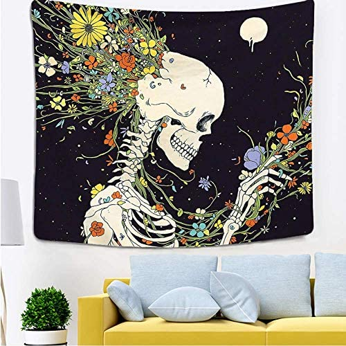 Maelove Decor Tapestry Flowers and Skeleton Elegant Hippie Psychedelic Wall Art Romantic Tapestries for Dorms Bedroom Living Room Colorful Decor (27.5 X 40 inches)