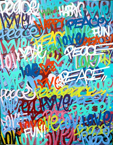 CHRIS RIGGS Original Love fine art painting 72″ x 57″ pop street art spray paint NYC acrylic contemporary modern art urban canvas