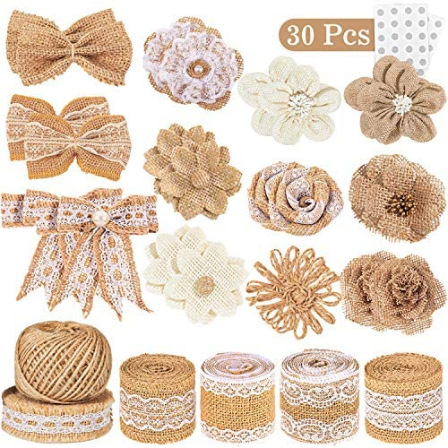 Whaline 30PCS Burlap Flowers Set, Include 5 Lace Burlap Ribbon Rolls, 24 Handmade Burlap Flowers and Bowknots, 1 Twine Ribbon and Glue Point for Wedding Party Decor Home Embellishment DIY Crafts