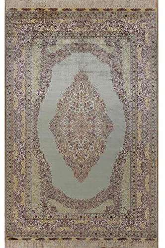Yilong 5'x8′ Handwoven Kerman Persian Silk Rug Antique Oriental Hand Knotted Carpet for Living Room (5-Feet-by-8-Feet) 1014
