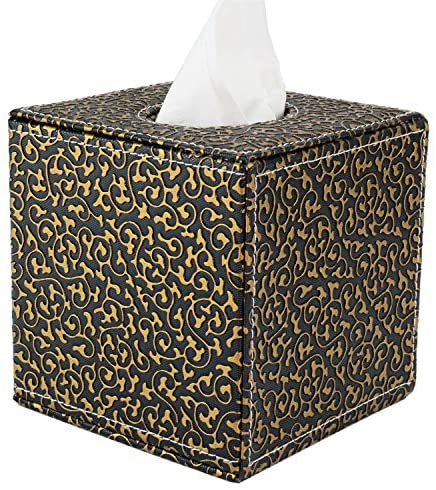 XCSY Tissue Box Cover, Faux Leather Tissue Box Holder for Home(Gold in Black)