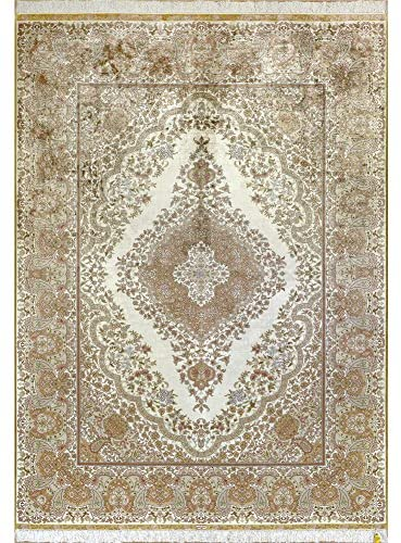 Yilong 6'x8.5′ Handmade Oriental Kerman Persian Silk Rug Antique Floral Hand Knotted Traditional Carpet for Living Room (6-Feet-by-8.5-Feet) 0251