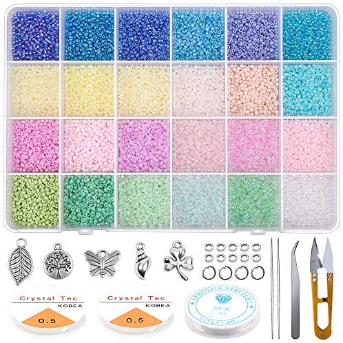 Yholin Glass Seed Beads Started Kit,19200pcs 2mm 12/0 Small Craft Beads with Jump Rings,Charms,Spacer Beads,Beading Needle,Tweezers,Scissors and Elastic String for DIY Bracelet Jewelry Making Supplies