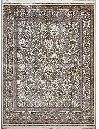 Yilong 8.25'x10.25′ Handmade Isfahan Persian Silk Rug Antique Oriental Hand Knotted Living Room Carpet 0325