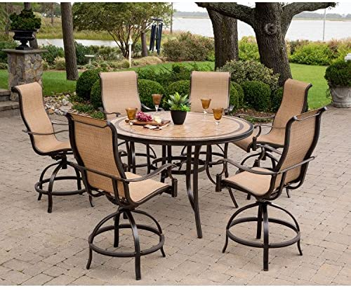 Hanover MONDN7PCBR-P Monaco 7-Piece High-Dining Set with 6 Contoured Swivel Chairs and a 56 in. Tile-Top Table Outdoor Furniture, Tan