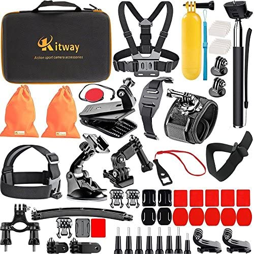 Kitway 65-in-1 Action Camera Accessories Kit for New GoPro HERO9, Compatible with GoPro Max, Hero 8 7 6 5 4 3+ 3 2 1/Akaso EK7000/Wewdigi EV5000/DBpower N6/Crosstour (Accessories for Action camare)