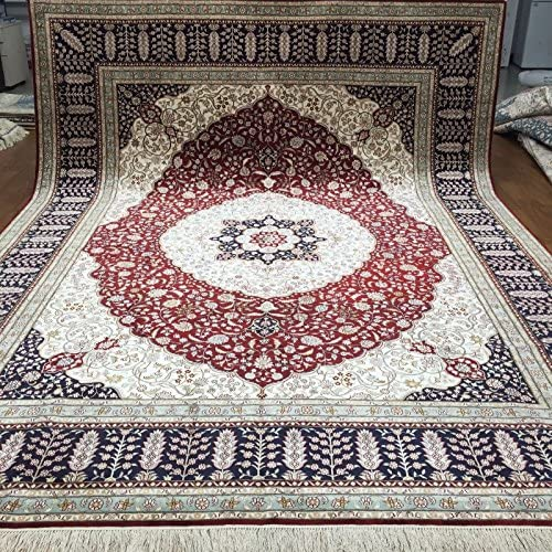 Yuchen New 9'x12′ Hand Knotted Silk Carpet Oriental Persian Living Room Medallion Rug