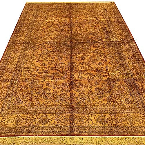 Yilong 6'x9′ Antique Hand Knotted Silk Rugs Persian Medallion Living Room Carpet