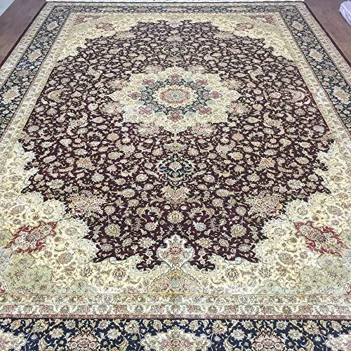 YUCHEN CARPET 12'x18′ Red Hand Knotted Persian Silk Carpet Large Traditional Vintage Rug