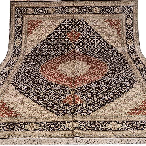 Yilong 9'x12′ Handmade Traditional Bijar Persian Silk Rug Antique Carpet Living Room Blue Red 434B9X12