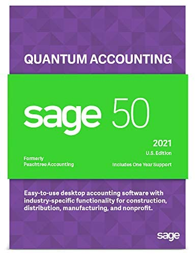 Sage Software Sage 50 Quantum Accounting 2021 U.S. 3-User Accounting Software (3-Users)