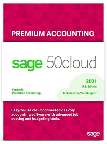Sage Software Sage 50cloud Premium Accounting 2021 U.S. 5-User One Year Subscription Cloud Connected Small Business Accounting Software (5-Users)
