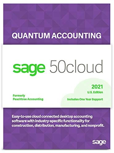 Sage Software Sage 50cloud Quantum Accounting 2021 U.S. 1-User One Year Subscription Cloud Connected Accounting Software