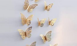 Pandaie 12 Pcs Fashion 3D Butterfly Wall Stickers Art Decor Decal For Home Wedding Party Gold