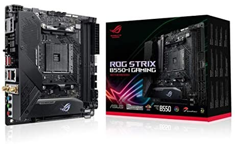 ASUS ROG Strix B550-I Gaming AMD AM4 (3rd Gen Ryzen Mini-ITX SFF Gaming Motherboard (PCIe 4.0, WiFi 6, 2.5Gb LAN, DDR4 5100+ (O.C.), Front USB 3.2 Gen 2 Type-C, Addressable Gen 2 RGB and Aura Sync)